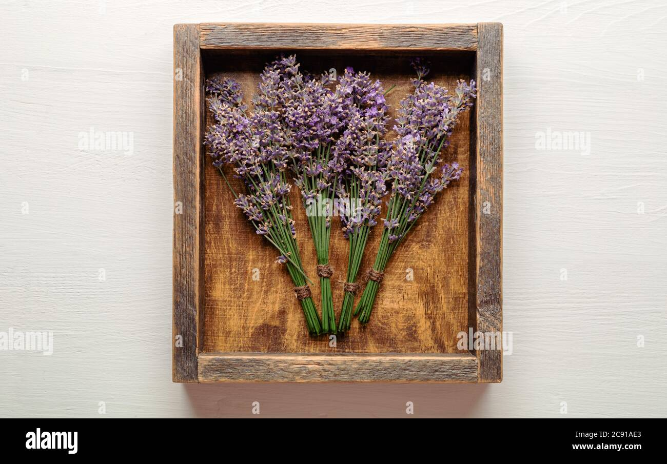 Fresh Lavender Flower Bouquets Are Dried In Wooden Box Bunches Of Lavender Flowers Dry Apothecary Herbs For Lavender Aromatherapy Top View White Stock Photo Alamy