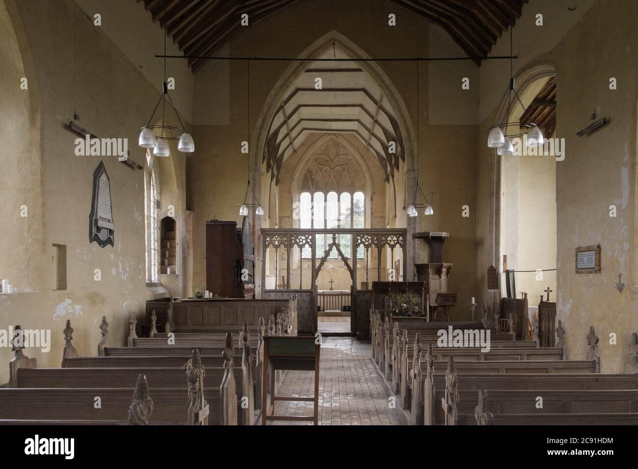 Interior of the medieval Church of St Martin, Thompson, in The Brecks, Norfolk Stock Photo
