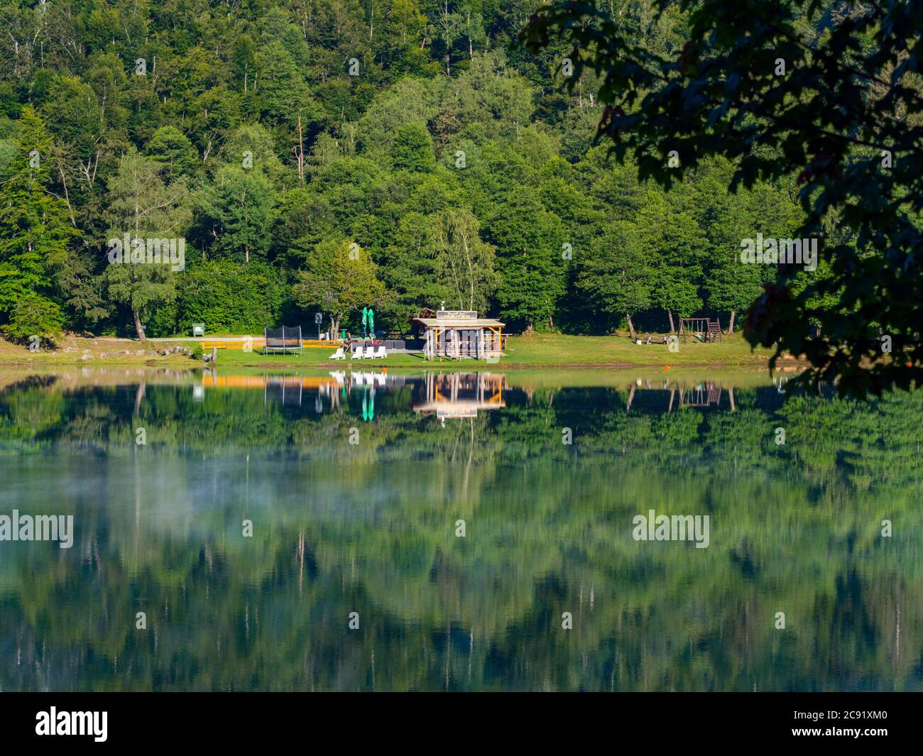 Promenade along lake Bajer in Fuzine Croatia Europe playground Stock Photo