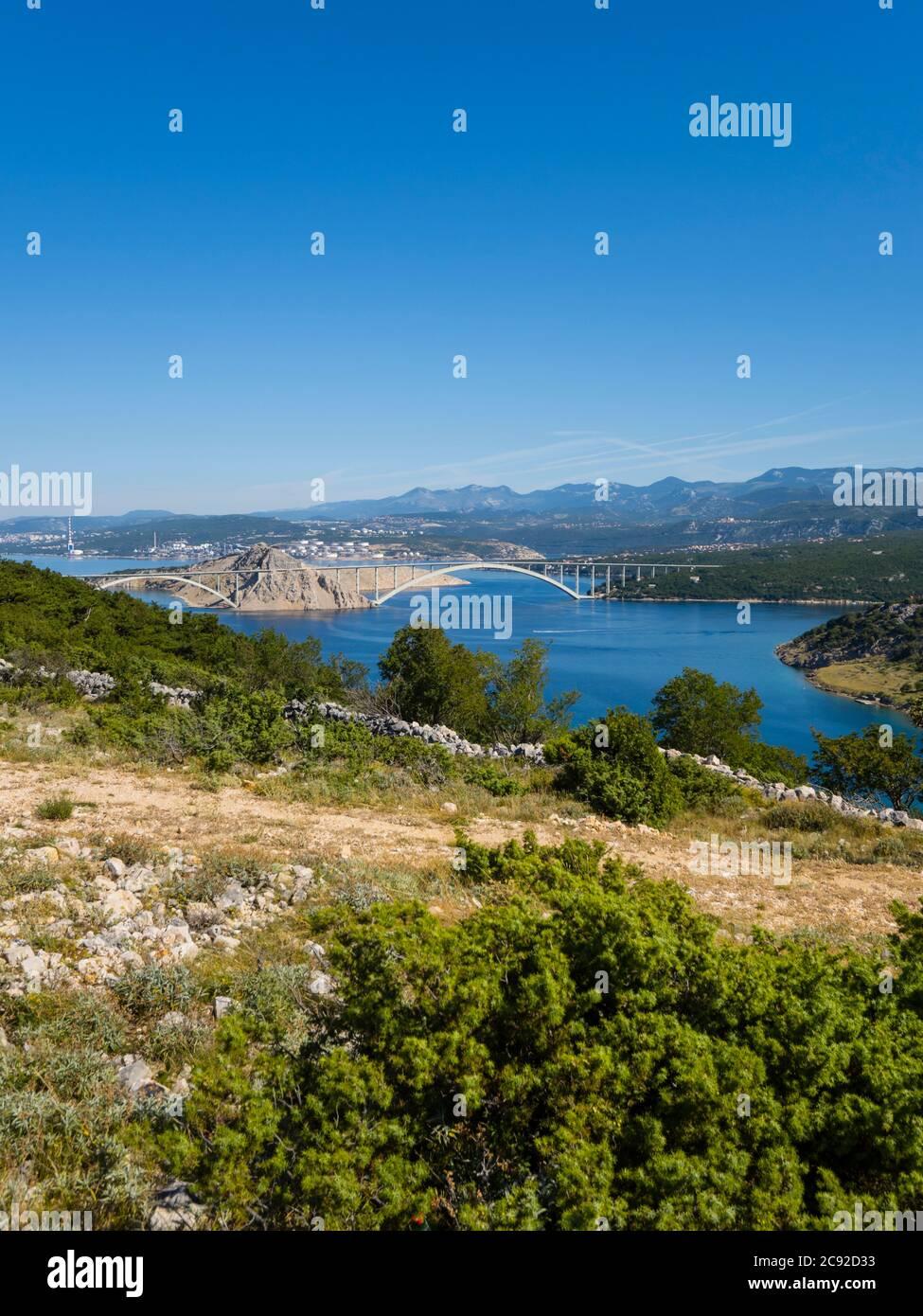 Scenery view atop Voz towards bridge to mainland on island Krk in Croatia Europe Stock Photo