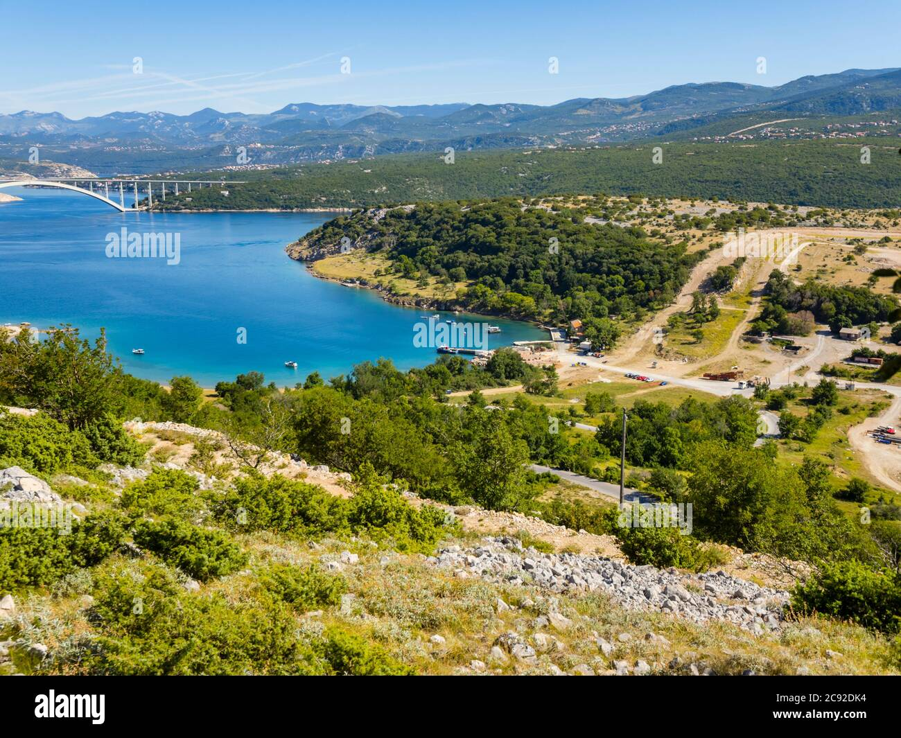 Scenery view atop Voz towards bridge to mainland on island Krk in Croatia Europe Stock Photo