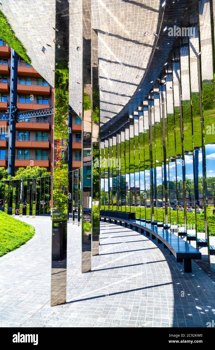 Mirror structure at the Gasholder Park in King's Cross, London, UK Stock Photo