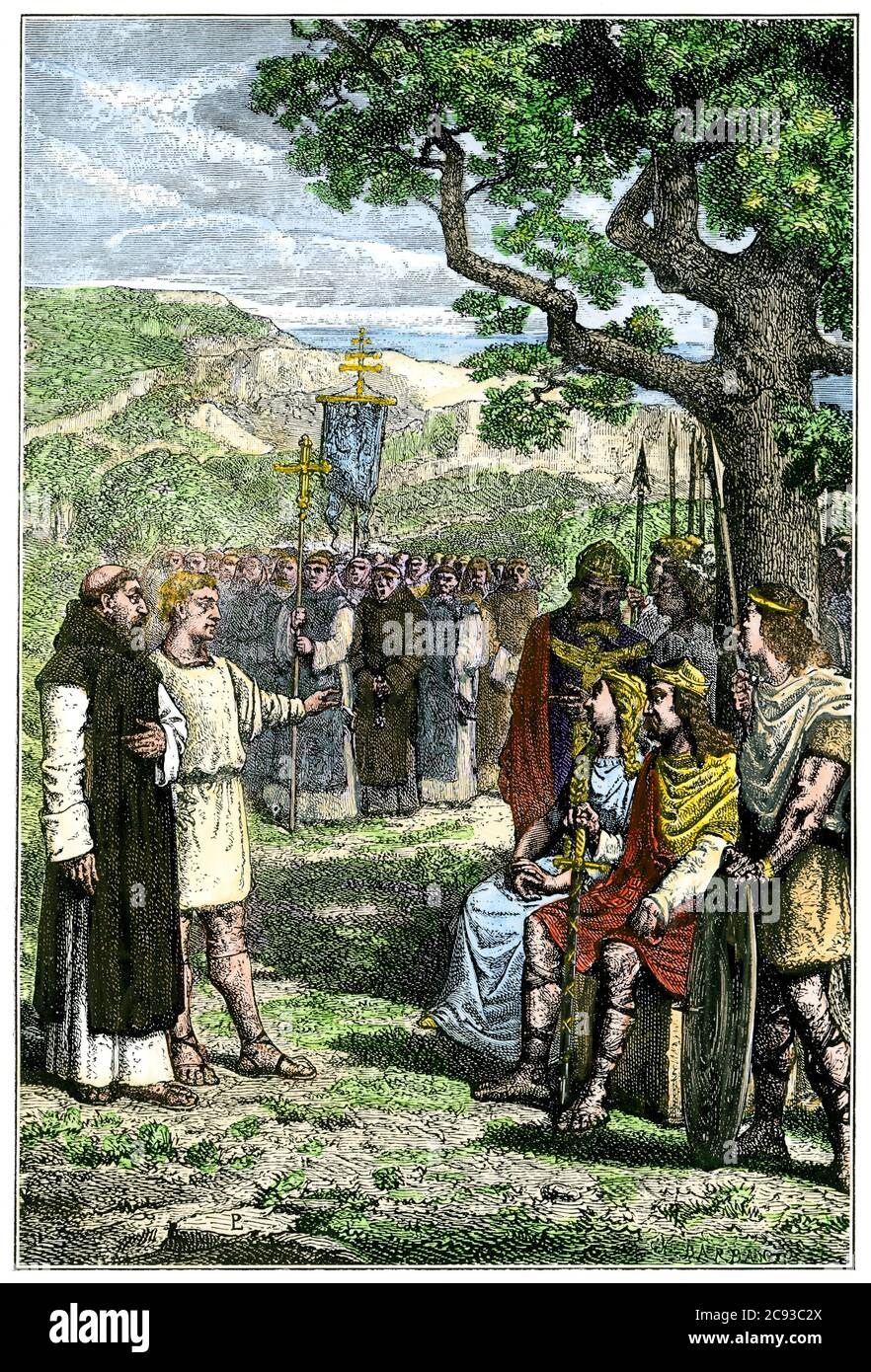 Saint Augustine meeting Aethelbert in Canterbury, 597 AD. Hand-colored woodcut Stock Photo