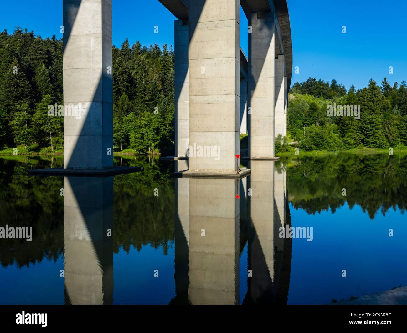 Bridge on lake Bajer in Fuzine Croatia Europe Stock Photo