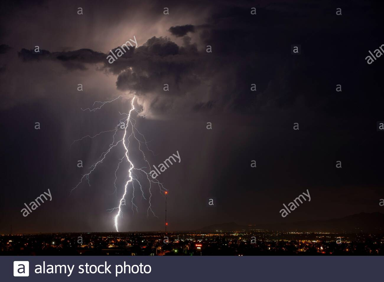 One huge lightning bolt crashes down in North Tucson, Arizona during a summer monsoon thunderstorm Stock Photo