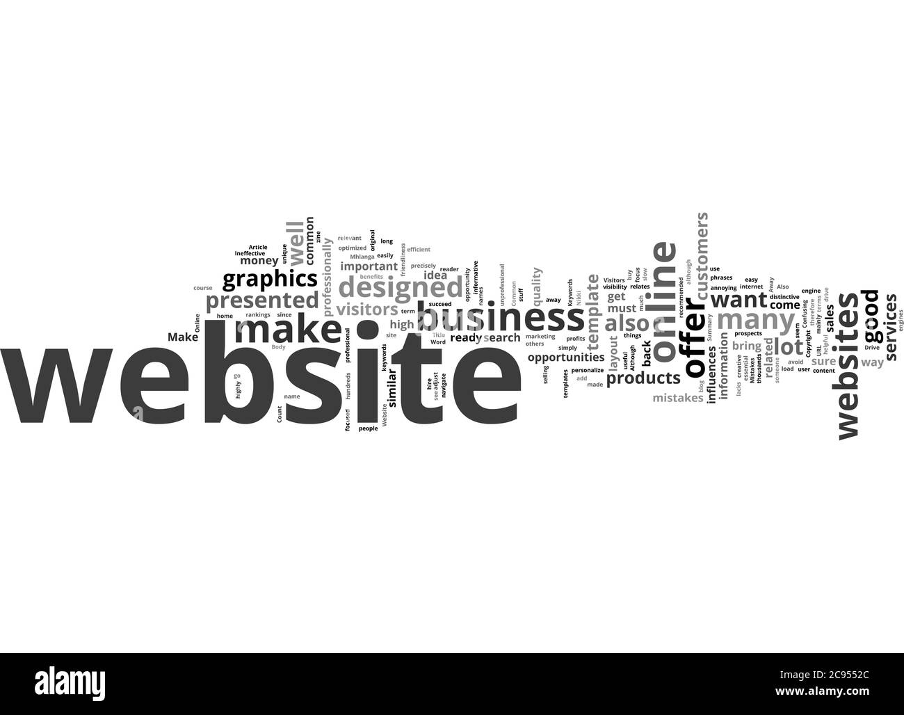 Word Cloud Summary of Common Mistakes That Drive Visitors Away From a Website Article Stock Photo