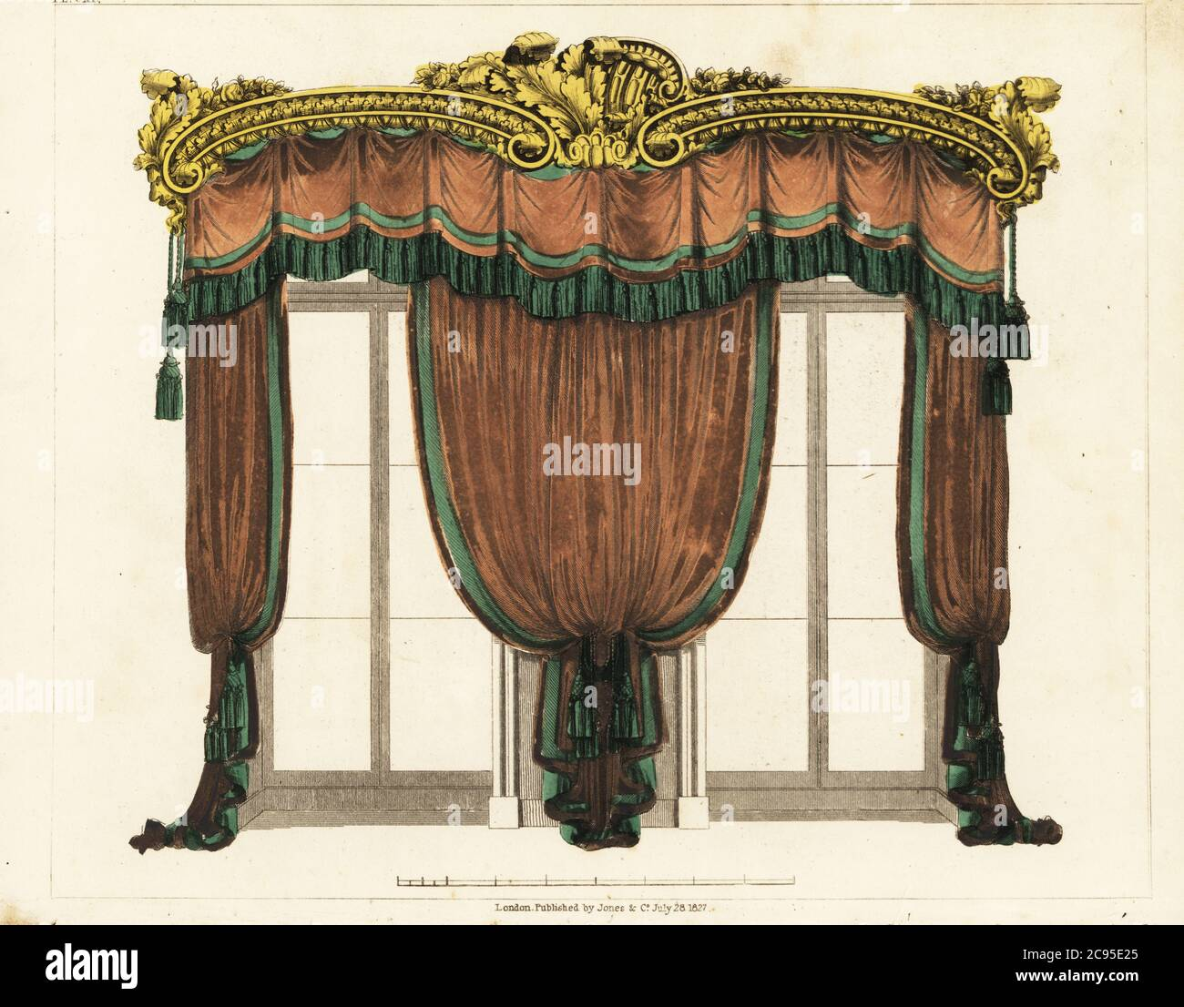Drawing Room Window Curtains Regency Style Ornate Gilt Carving Over A Fringed Pelmet Heavy Drapes Tied With Tassels Handcoloured Copperplate Engraving From George Smith S The Cabinet Maker And Upholsterer S Guide Jones And Co London