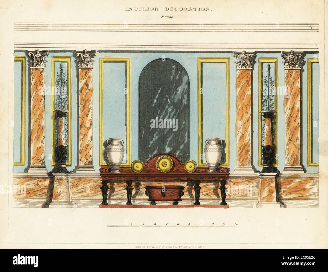 Interior Decoration Roman High Interior Wall Decorated With Framed Panels And Marble Ionic Columns And Capitals Low Wooden Table To Display Vases And Gold Plates Handcoloured Copperplate Engraving From George Smith S The