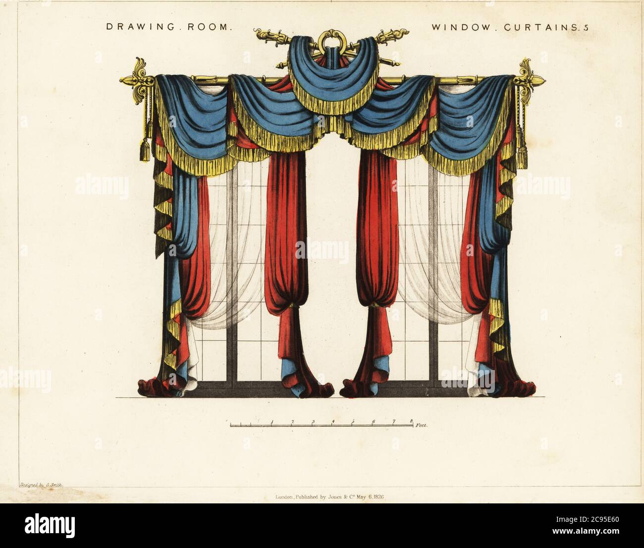 Drawing Room Window Curtains Regency Style Blue And Gold Fringed Drapes Hung Over Gilt Curtain Rods Scarlet Heavy Curtains And Transparent Curtains At The Windows Handcoloured Copperplate Engraving From George Smith S The Cabinet Maker