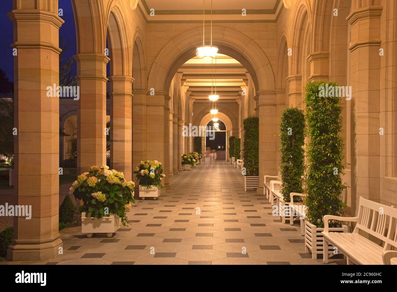 geography / travel, Germany, Bavaria, Bad Kissingen, spa gardens, arcade, Additional-Rights-Clearance-Info-Not-Available Stock Photo