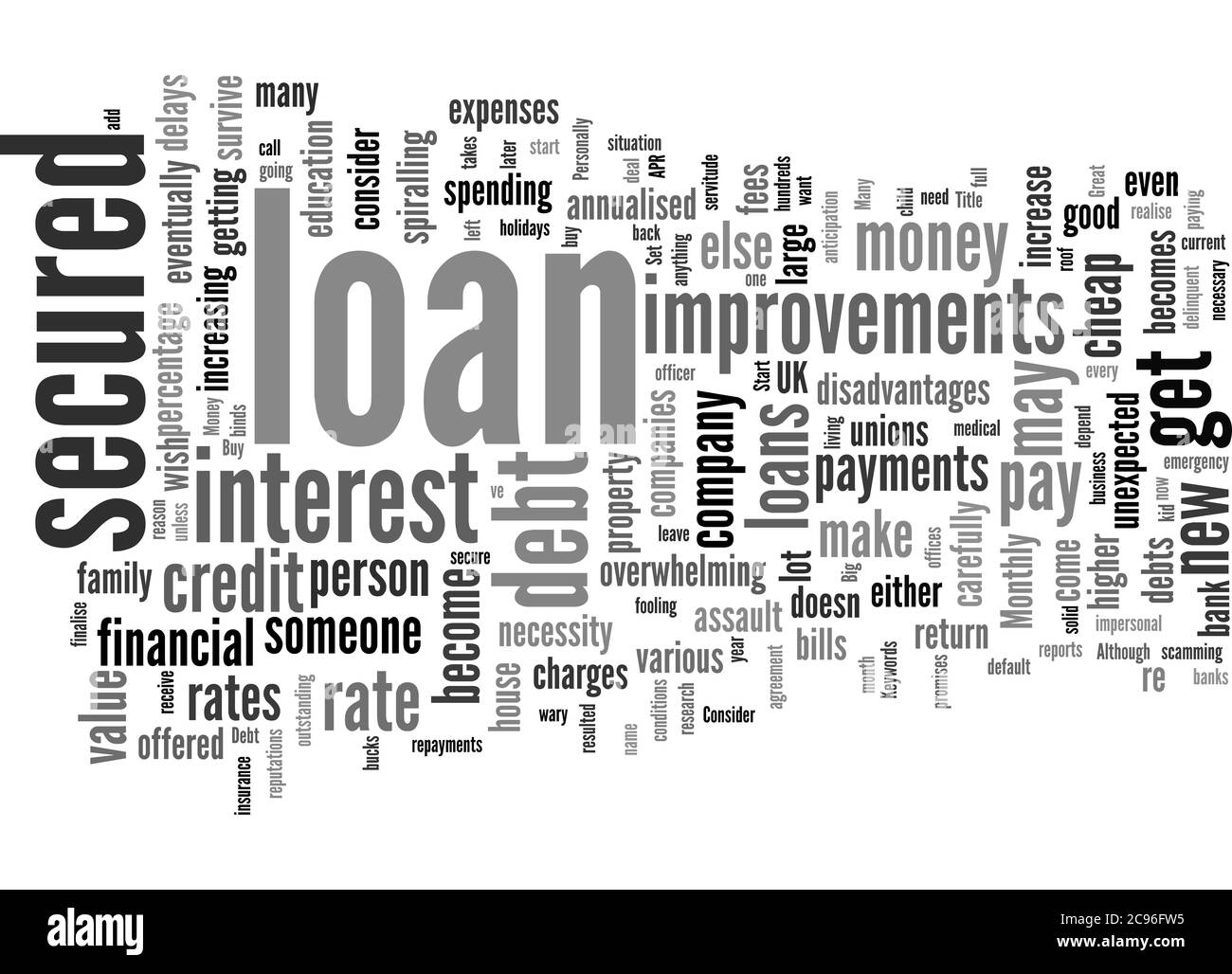 Word Cloud Summary of How To Save Money And Get A Great Secured Loan Article Stock Photo