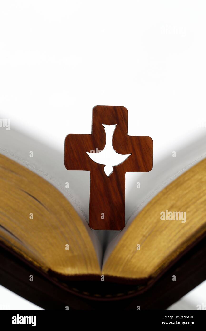 Cross of the order of the Holy Spirit on an open bible. France. Stock Photo