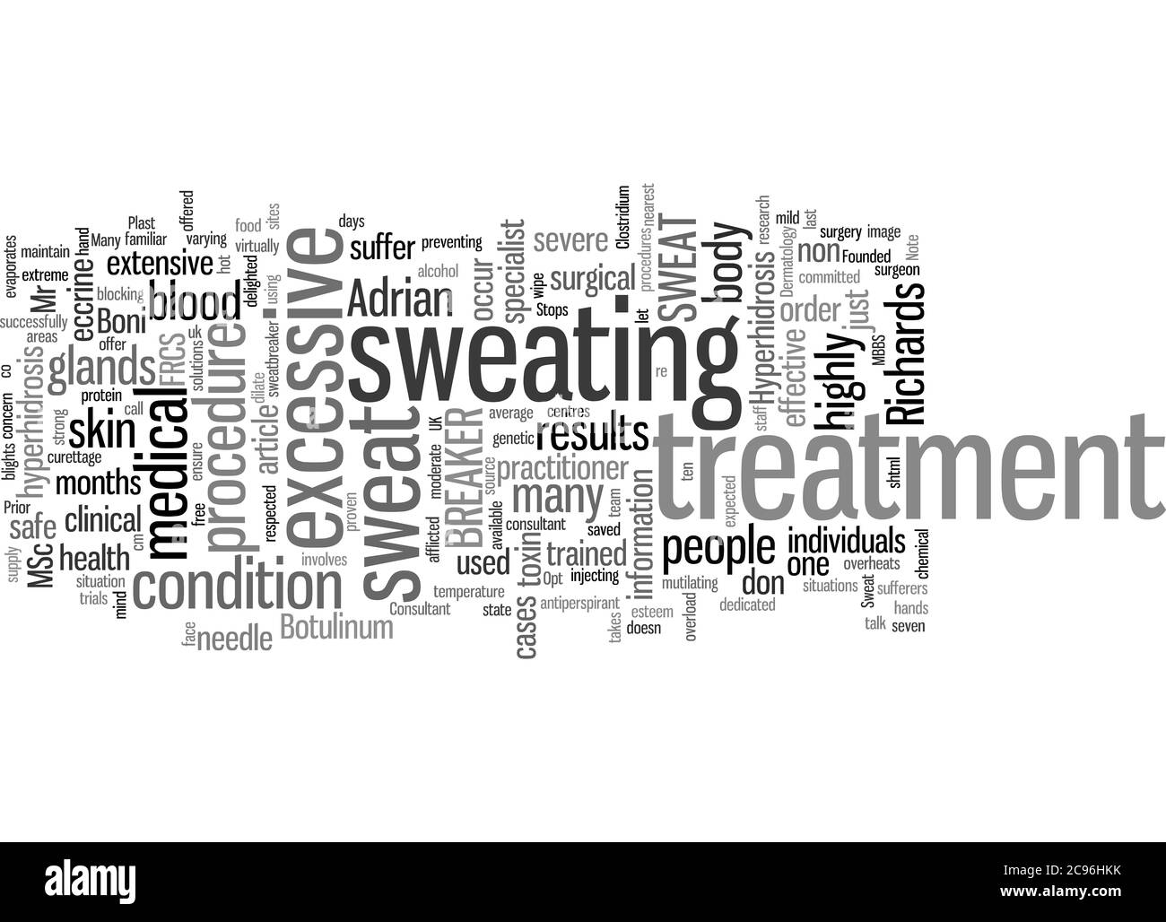 Word Cloud Summary of The Sweat Stops Here Article Stock Photo