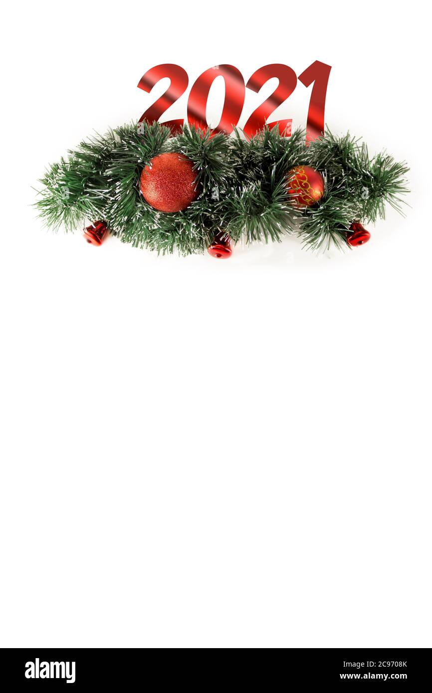 2021 Christmas White Background Delicate Christmas Ornaments Isolated On White Background Christmas 2021 Decorations Winter Holiday Theme Happy New Year Space For Text Stock Photo Alamy