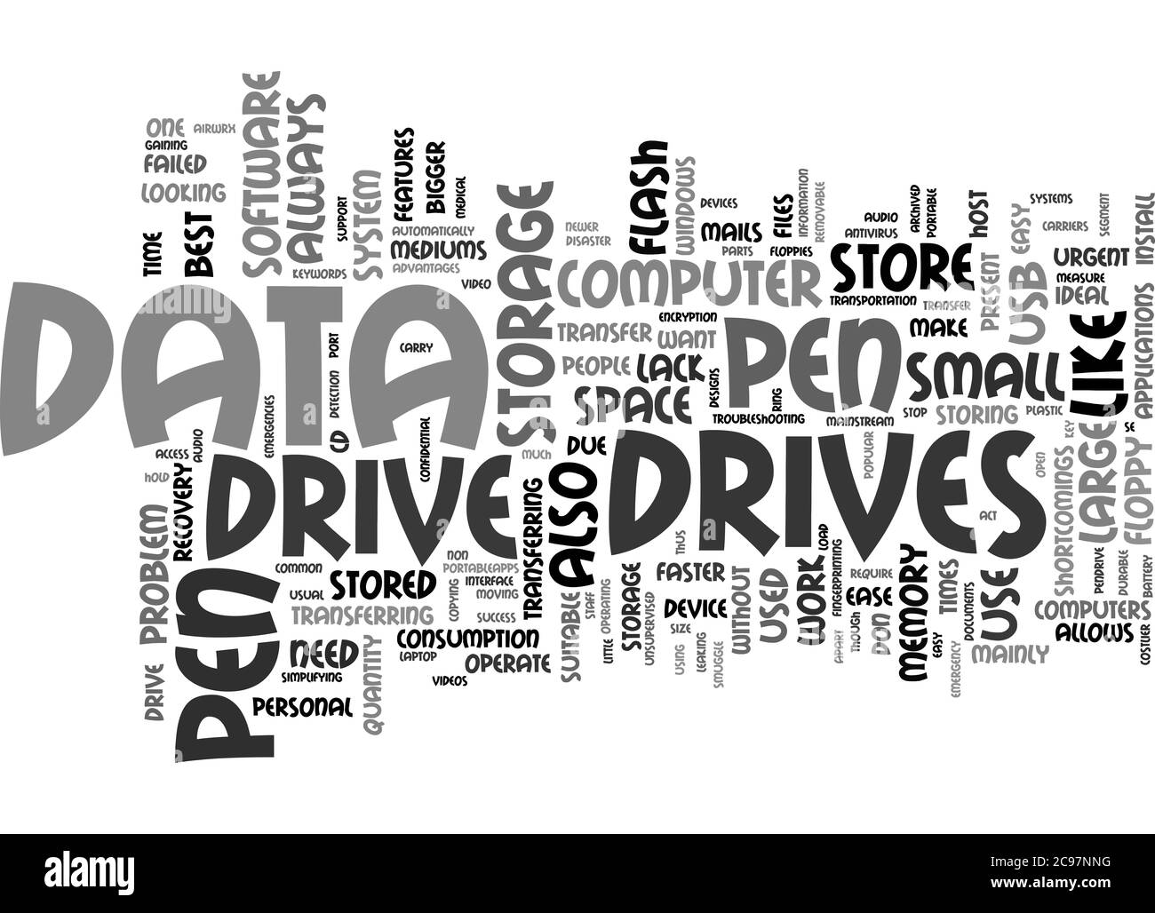 Word Cloud Summary of Data Transfer Made Easy By Pen Drive Article Stock Photo