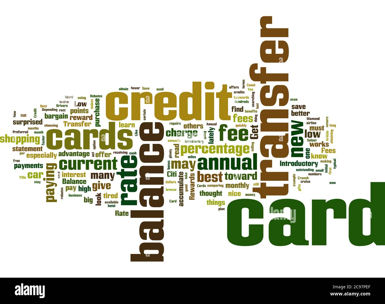 Word Cloud Summary Of The Best Balance Transfer Credit Cards Get Yours Now Article Stock Photo Alamy