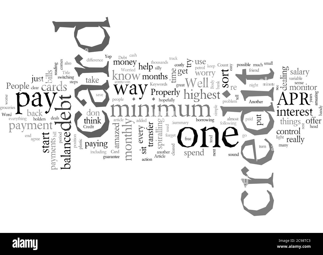 Word Cloud Summary of Are You Worried About Credit Card Debt Article Stock Photo