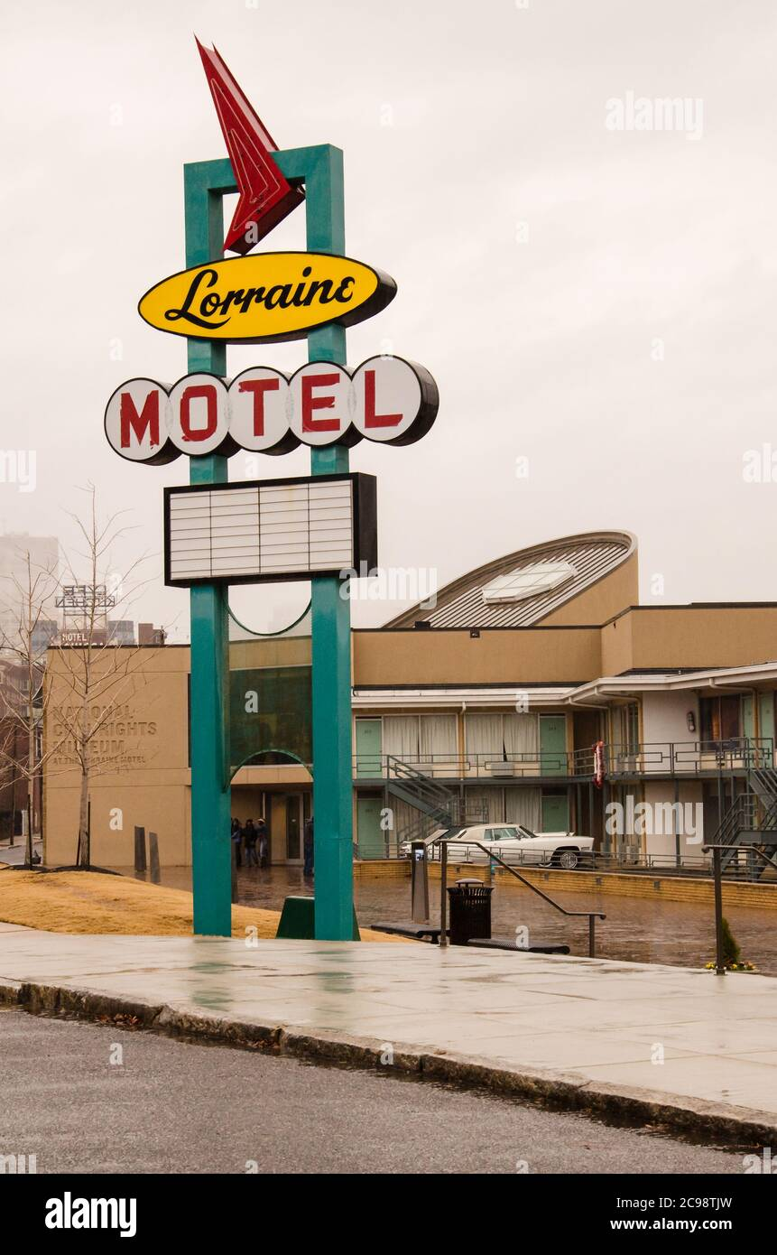 The Lorraine Motel sign at the National Civil Rights Museum where Martin Luther King was shot, Memphis, Tennessee, USA Stock Photo