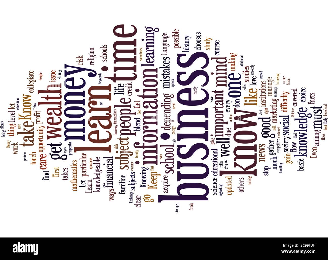 Word Cloud Summary of article The Learning Process About Money And Wealth Stock Photo