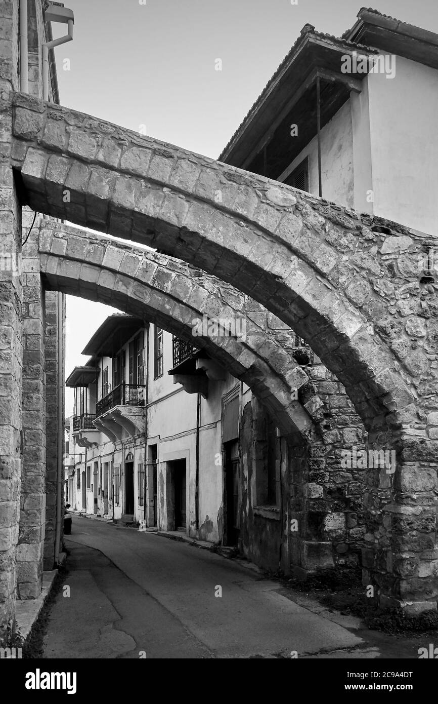 Old Street In Larnaca Under Ancient Buttresses Of The Great Mosque Cyprus Black And White Architectural Photography Stock Photo Alamy