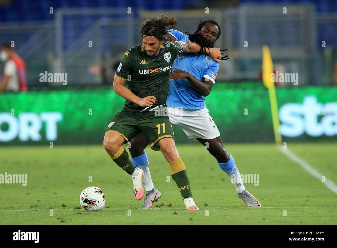 Rome Italy 29th July 2020 Ernesto Torregrossa Brescia Defends The Ball From Jordan Lukaku Lazio During