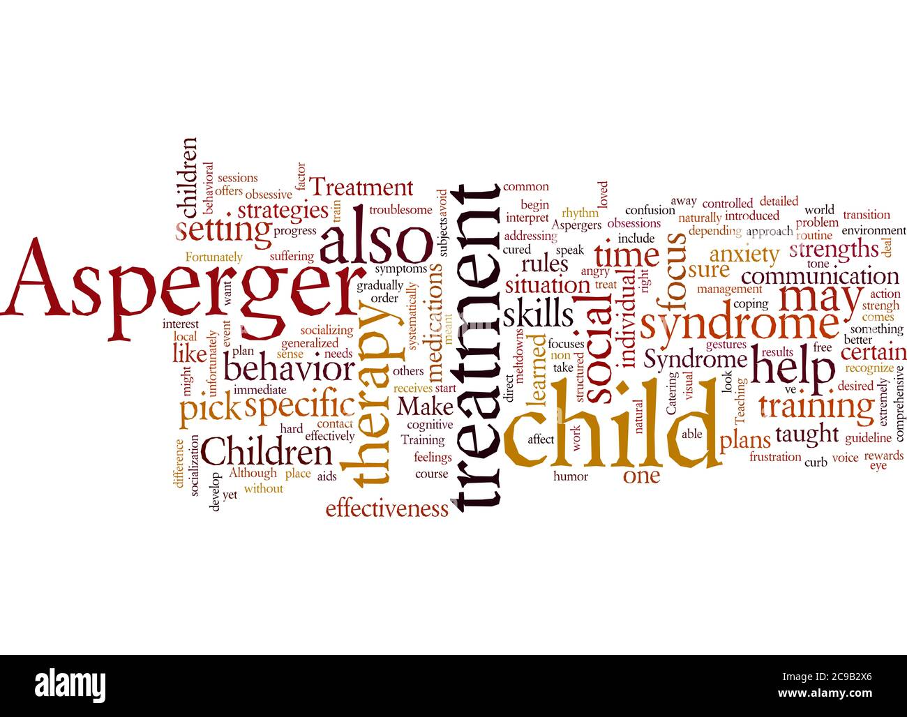 Word Cloud Summary of Aspergers Treatment Article Stock Photo