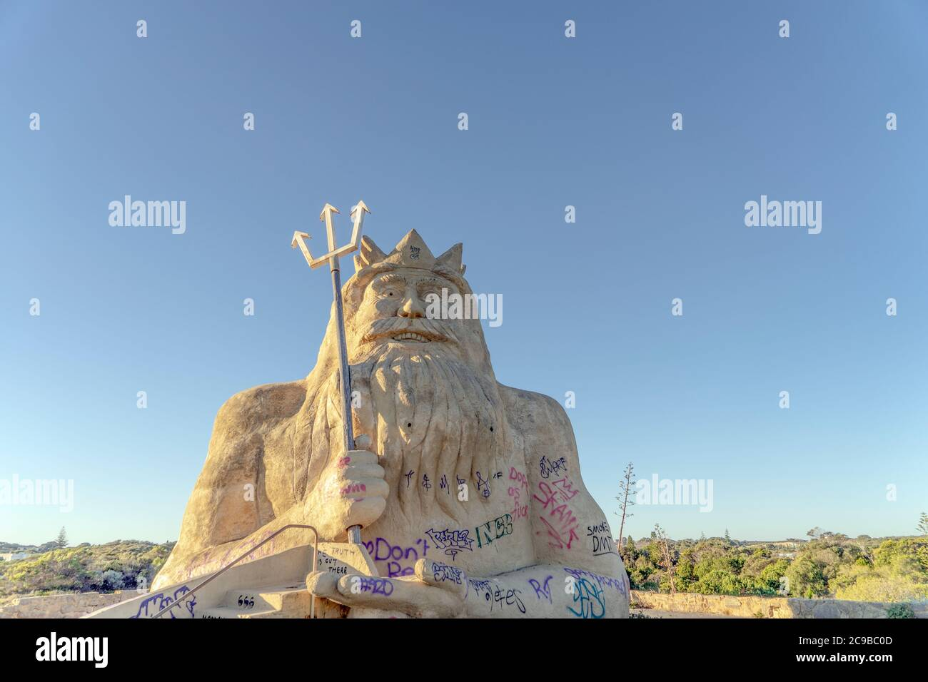 King Neptune Statue In Atlantis Marine Park In Two Rocks Western Australia Perth S Abandoned Theme Park Stock Photo Alamy