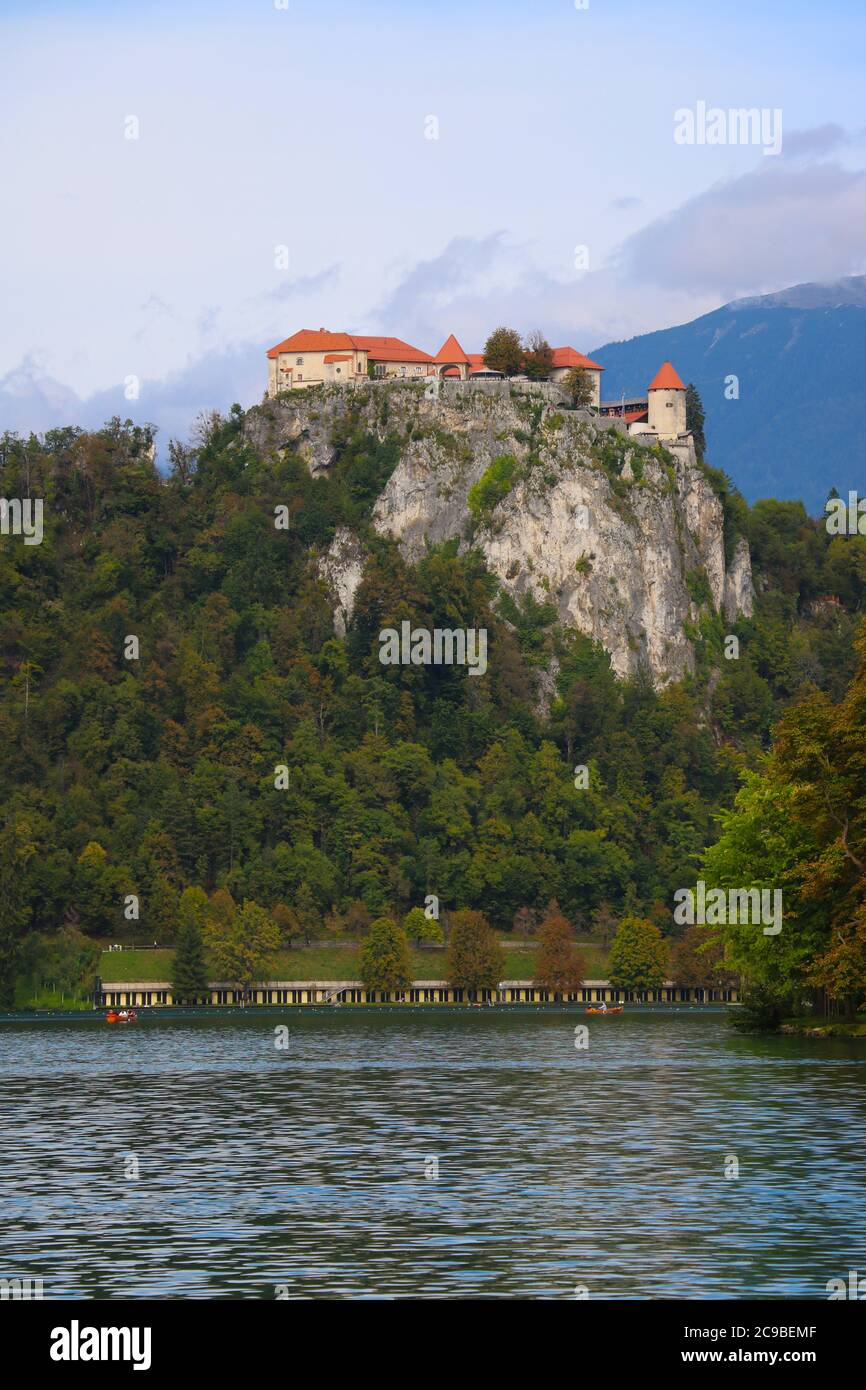 Bled Castle is a medieval castle built on a precipice above the city of Bled, overlooking Lake Bled Stock Photo