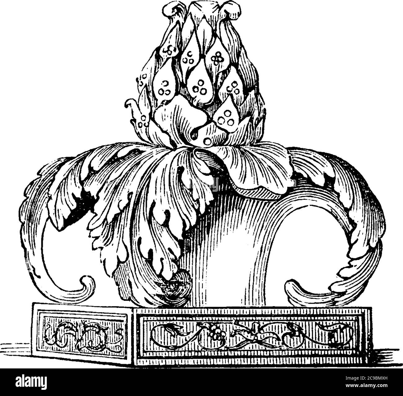 The head of a thyrsus composed of the leaves and berries of the ivy, and surrounded by acanthus leaves. Very frequently, also, a while fillet was tied Stock Vector