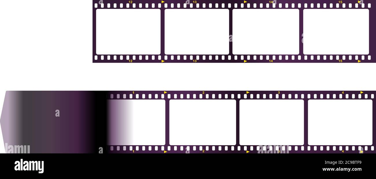 Empty frame of photographic analog film, camera film, grungy photo frame, free space for pix, vector Stock Vector