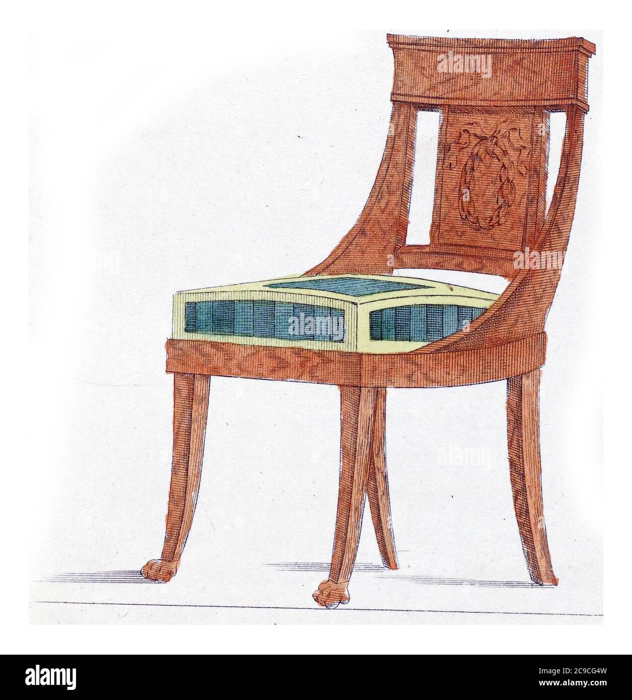 Elegantia Or Magazine Of Fashion Luxury And Taste For Women April 1809 Objects Of Taste A Furniture Chair Made Of Mahogany Wood To The Newest Tas Stock Photo Alamy