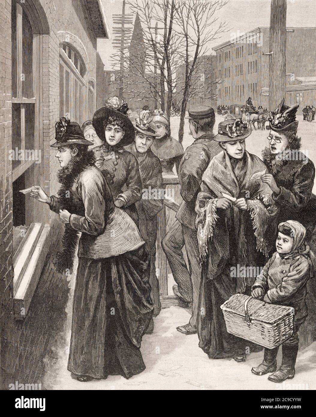 Women casting their vote at the polls in Cheyenne, Wyoming Territory, USA.  After an illustration by an unknown artist in the November 24, 1888 edition of Frank Leslie's Illustrated Newpaper.  In 1869 the Wyoming Suffrage Act was passed and Wyoming became the first USA territory, or state to guarantee their women citizens full suffrage. Stock Photo