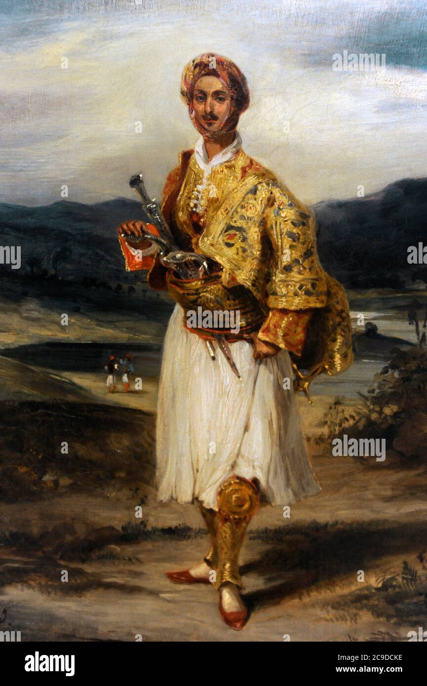 Eugene Delacroix (1798-1863). French painter. Count Palatiano in a Greek National costume, 1826. National Gallery. Prague. Czech Republic. Stock Photo