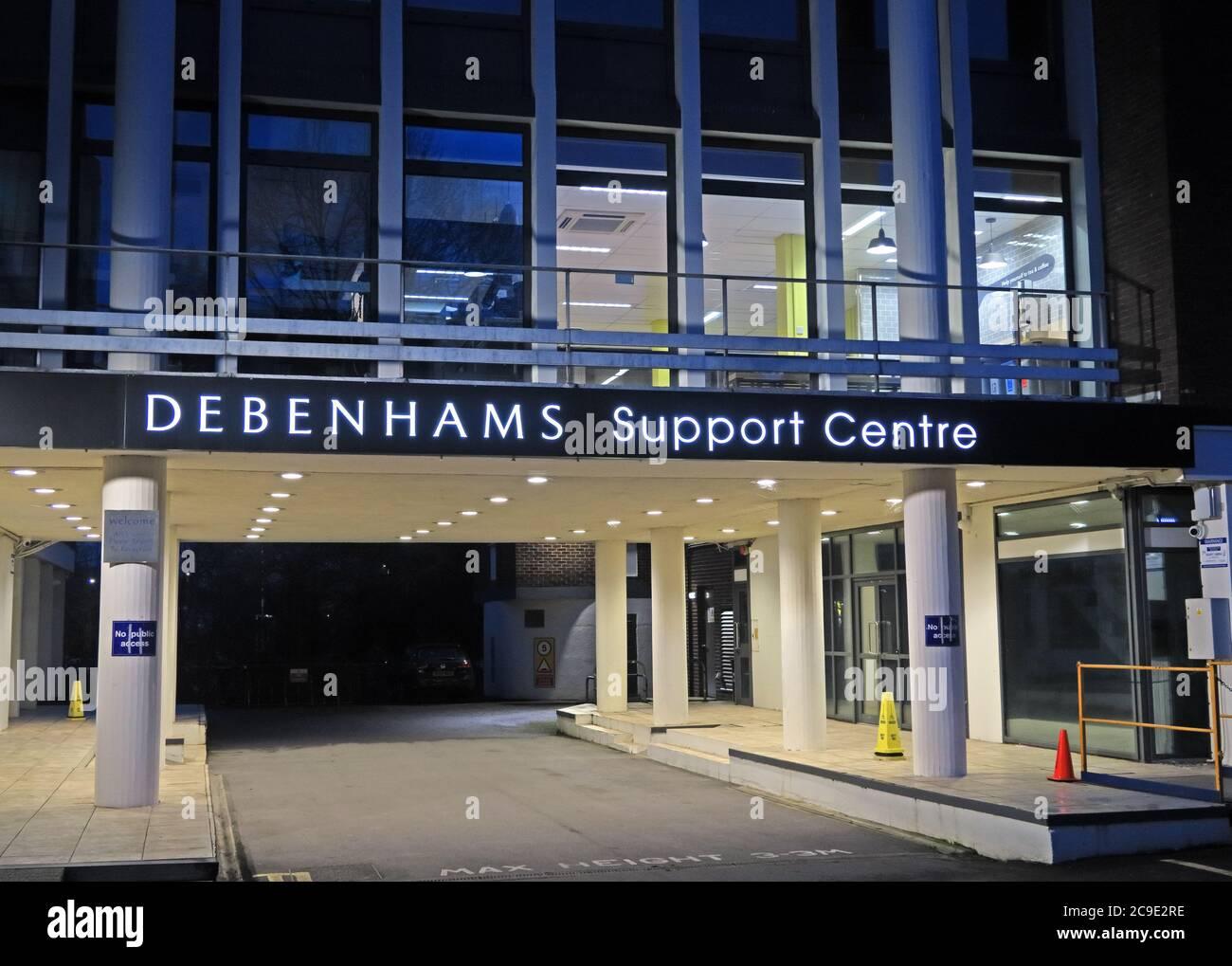 Debenhams Support Centre,high street retail,Bedford House, Park St, Taunton TA1 4DB at dusk Stock Photo
