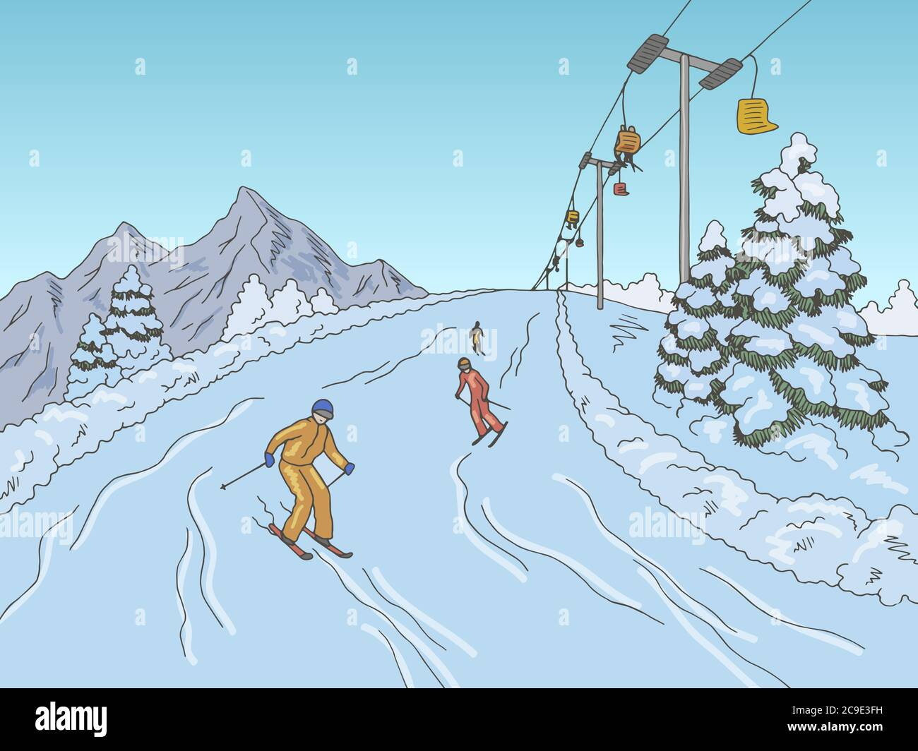 Snow Skiing Sketch High Resolution Stock Photography And Images Alamy