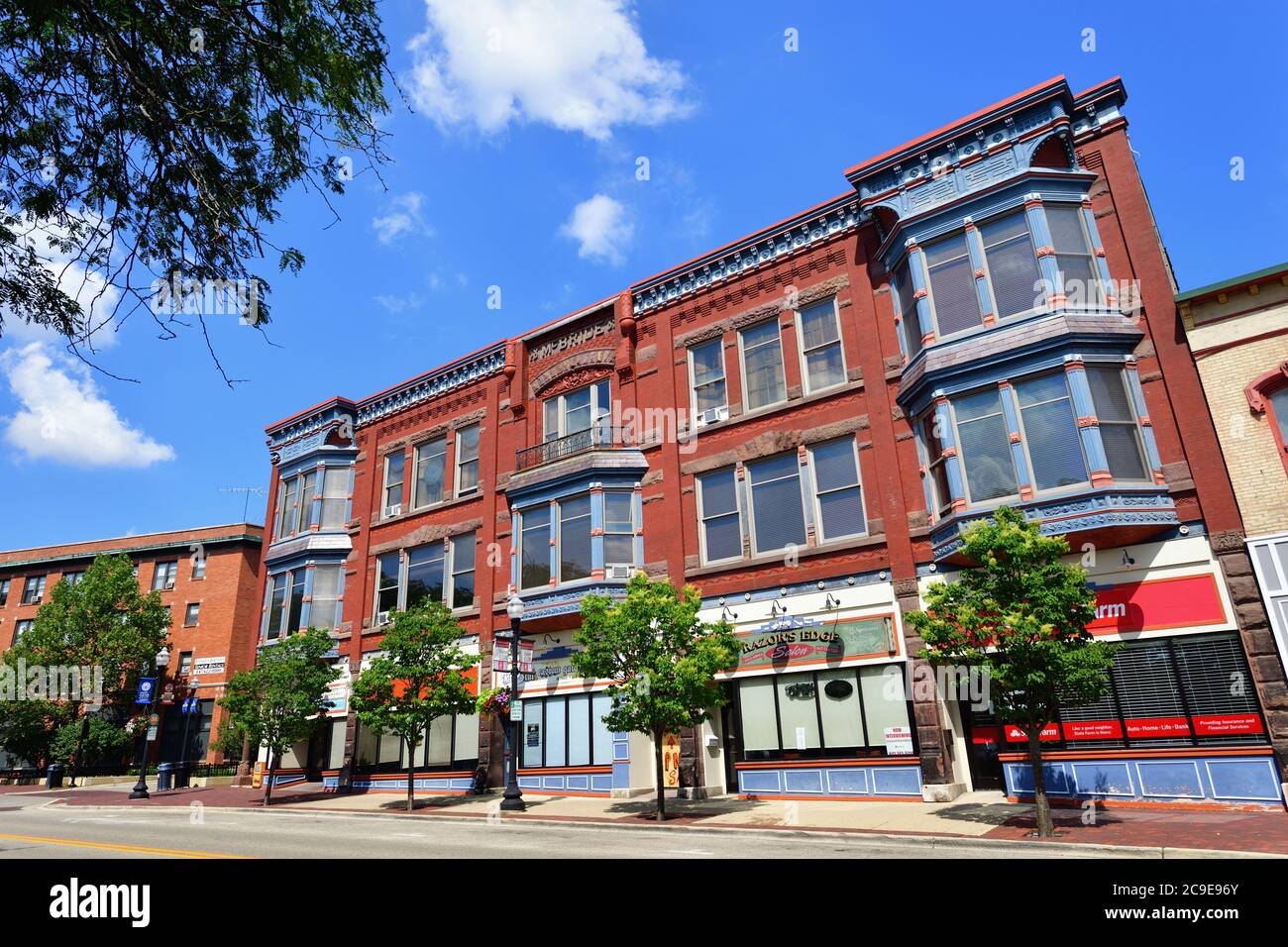 Elgin, Illinois, USA. Colorful facades on downtown building in the river city of Elgin, Illinois. Stock Photo