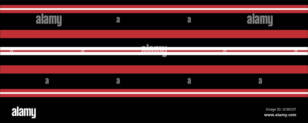Classic red, black white vector striped seamless border. Banner of thin and thick stripes. Elegant linear horizontal geometric backdrop. Sophisticated Stock Vector