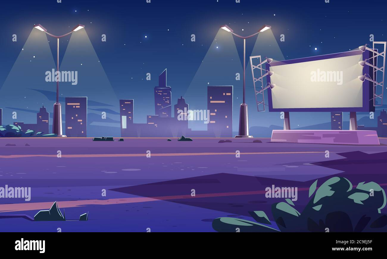 Blank large billboard on street in town at night. Vector cartoon cityscape with empty road, street lights and white advertising bigboard with lamps. Big marketing poster Stock Vector
