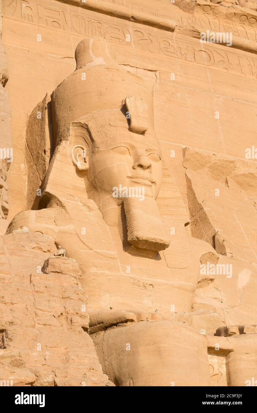 Colossal statue at the great temple of Ramesses II, Abu Simbel, Egypt Stock Photo