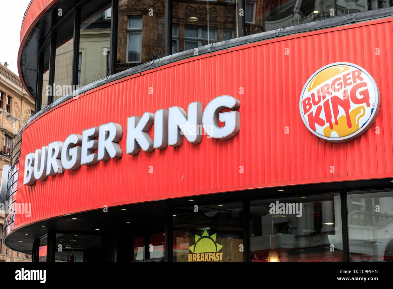 Burger King Fast Food Restaurant Exterior Leicester Square London England Uk Stock Photo Alamy