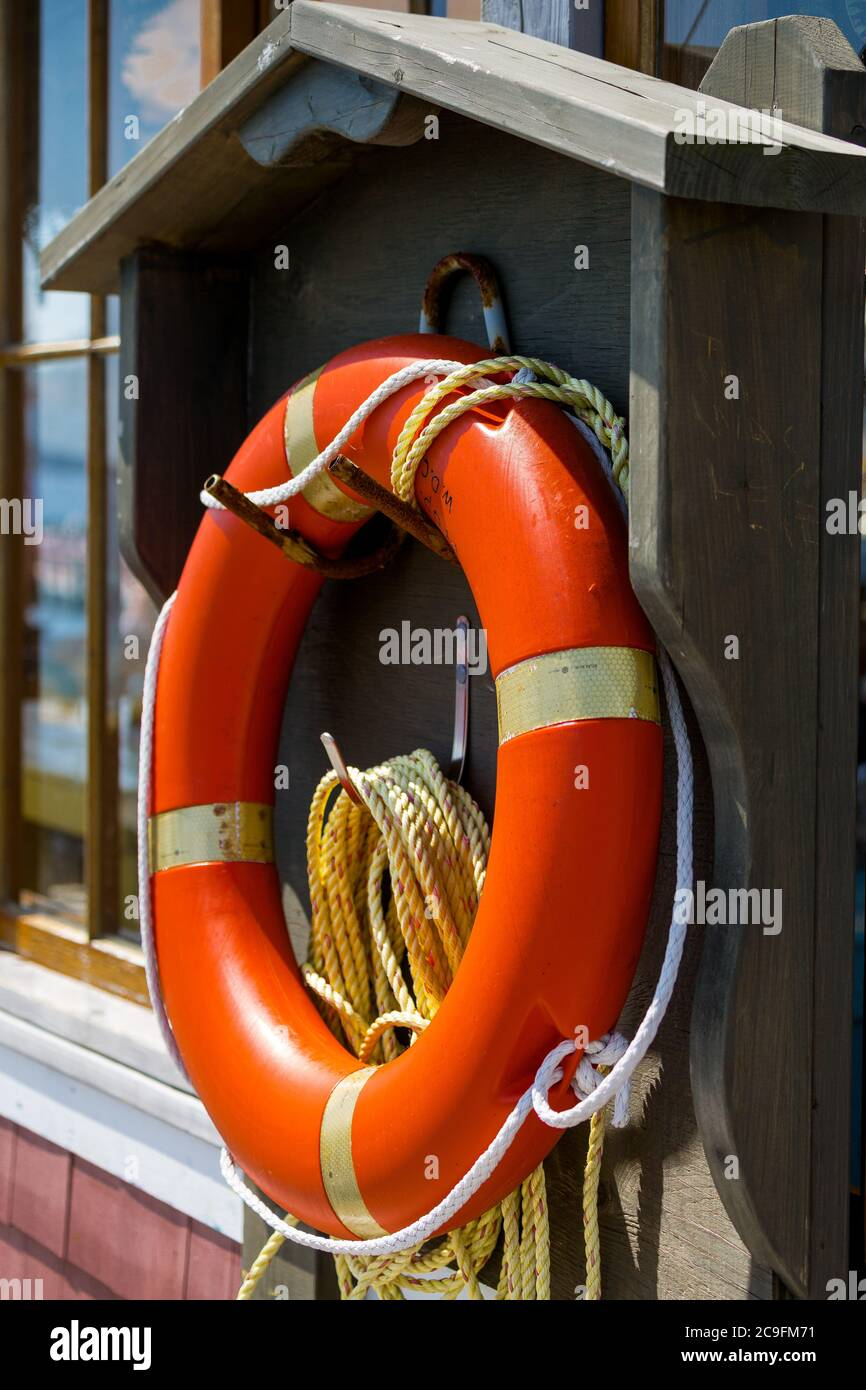 Lifebelt. Halifax Harbour walkway. Canada Stock Photo