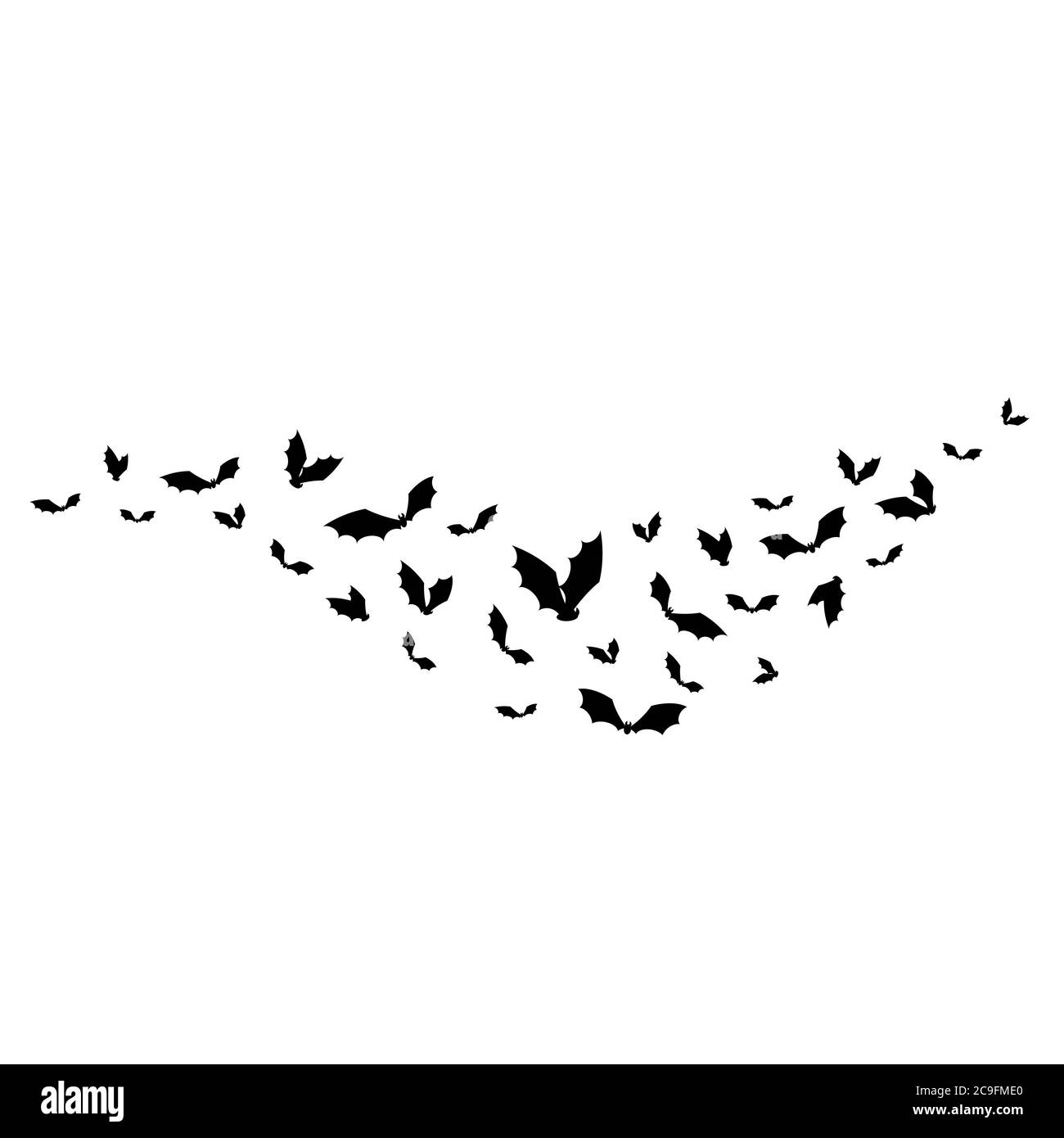 Halloween Wallpaper With Black Flying Bats On White Background Wavy Path Flat Vector Illustration Night Scary Spooky Mistic Mystery Clip Art Stock Vector Image Art Alamy