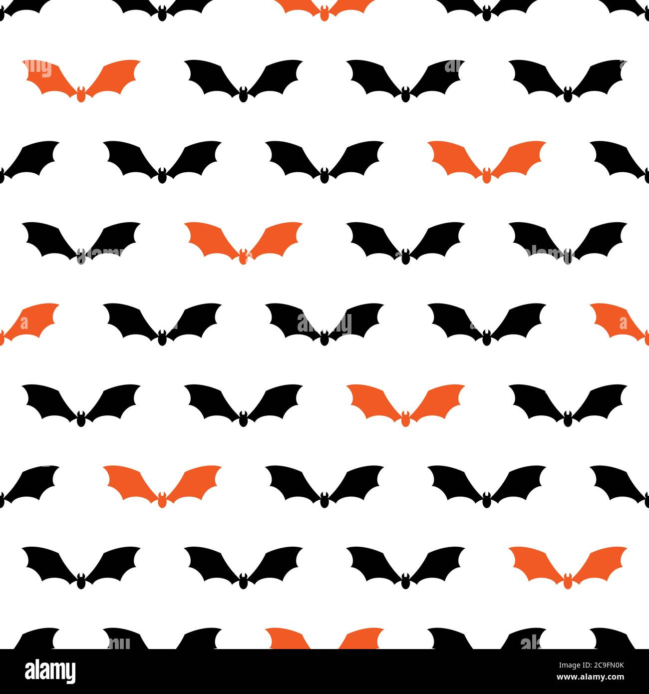 Seamless Pattern With Black And Orange Bat Silhouette On White Background Halloween Vector Wallpaper Stock Vector Image Art Alamy