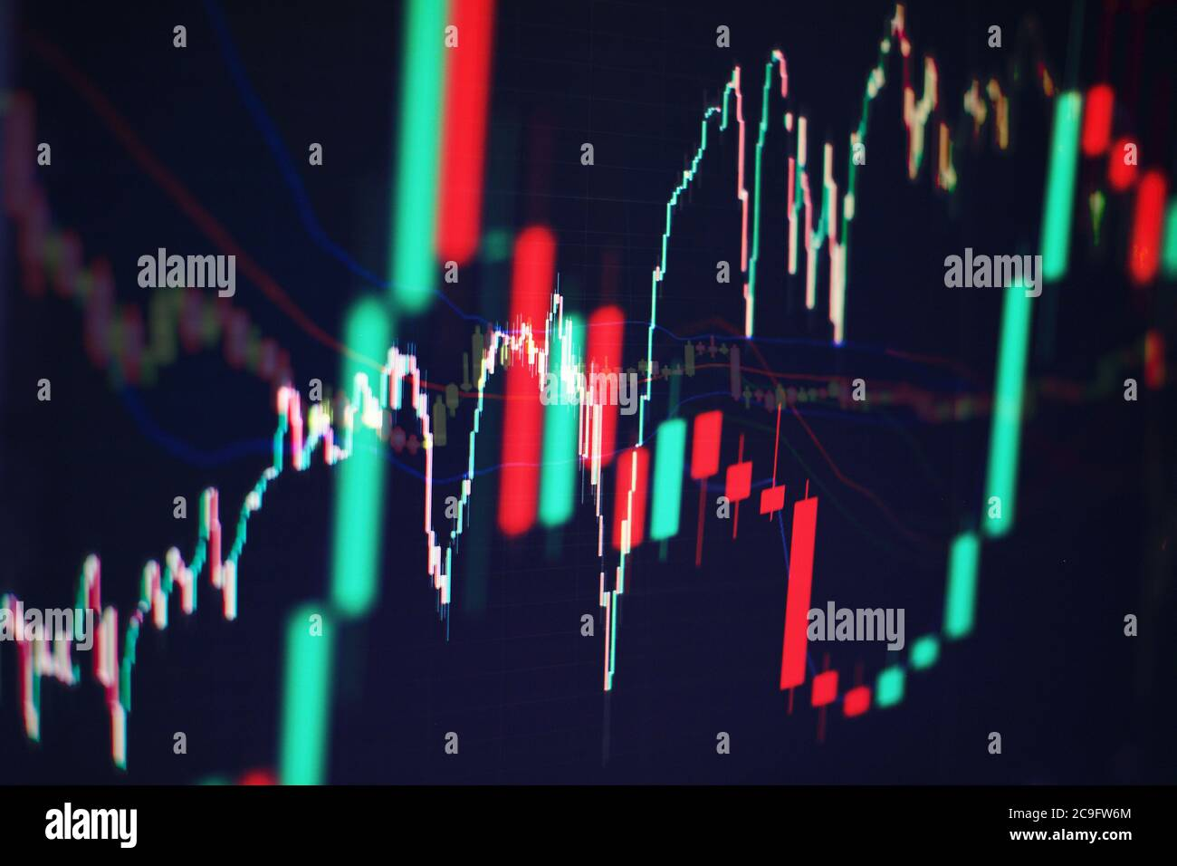 Data analyzing from charts and graph to find out the result in trading market. Working set for analyzing financial statistics and analyzing a market d Stock Photo