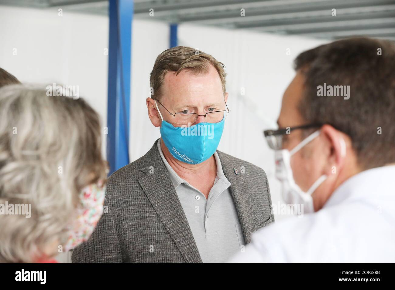 Weida Germany 31st July 2020 Bodo Ramelow Die Linke Minister President Of Thuringia Talks To Employees