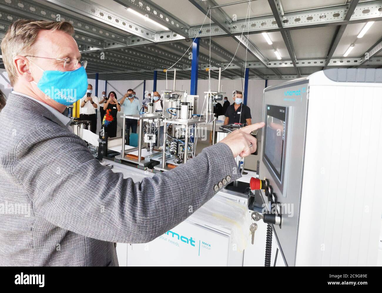 Weida Germany 31st July 2020 Bodo Ramelow Die Linke Minister President Of Thuringia Puts A Machine