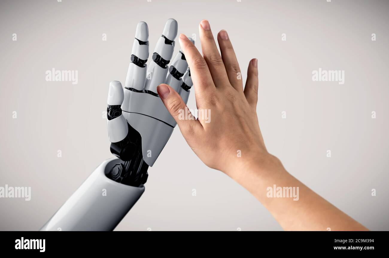 Future artificial intelligence robot and cyborg. Stock Photo