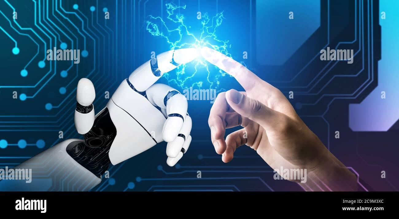 Futuristic robot artificial intelligence concept. Stock Photo