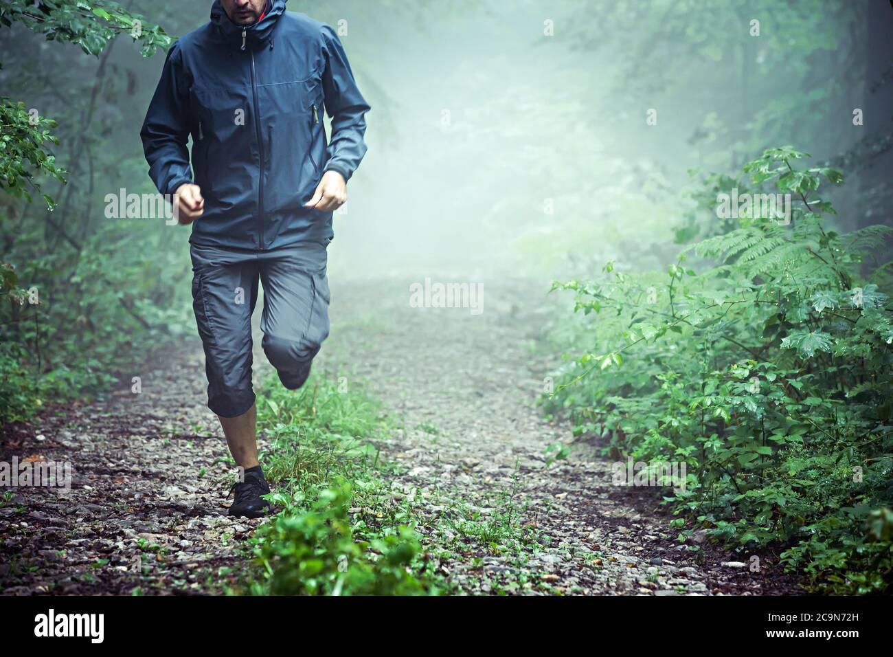Close up of male athlete, wearing outdoor clothes, running through misty forest early in the morning. Copy space available. Stock Photo