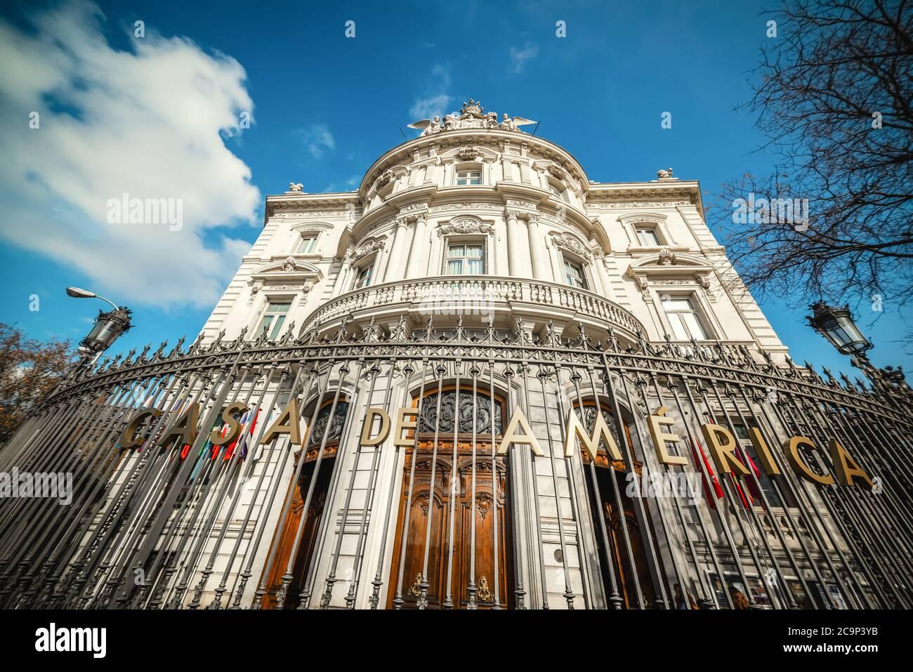 Casa de America building in Plaza de Cibeles under a cloudy sky. Madrid, Spain Stock Photo
